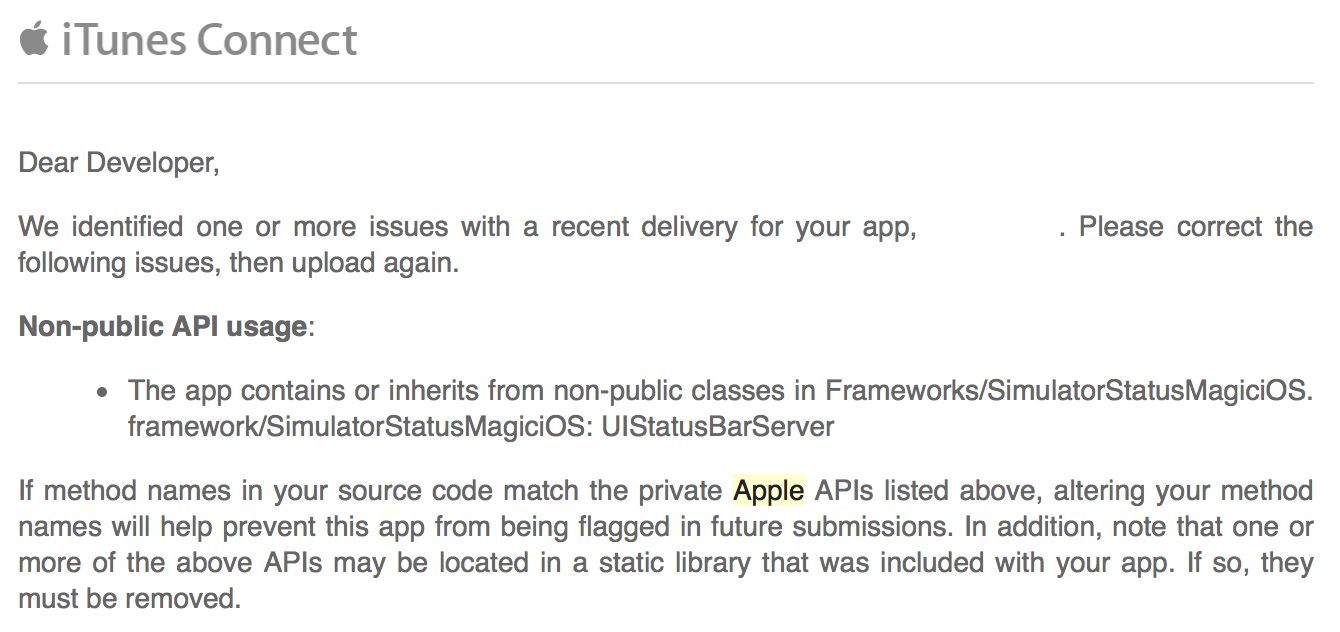 Apple's email about non-public APIs